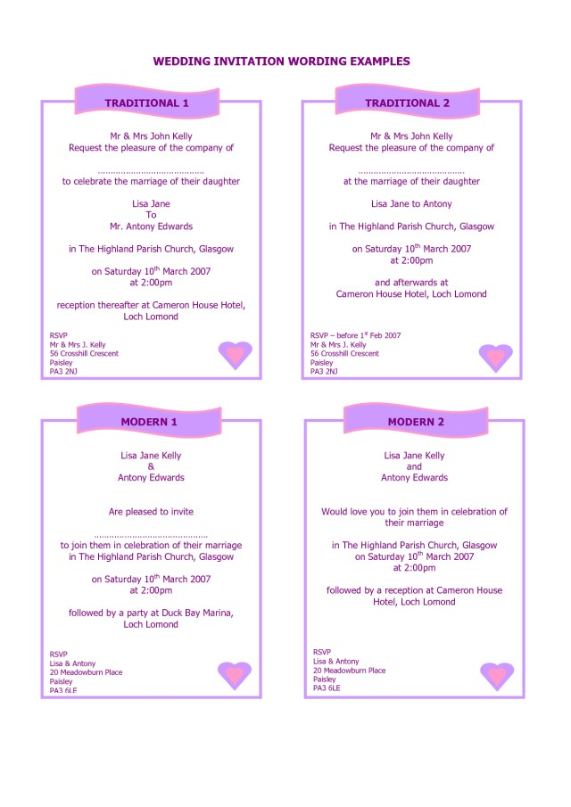 Example Of Wedding Invitation Examples Of How To Write A Wedding Invitation Google Search A