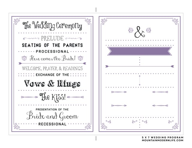 Free Printable Wedding Invitation Templates Download Free Printable Wedding Program Mountainmodernlife