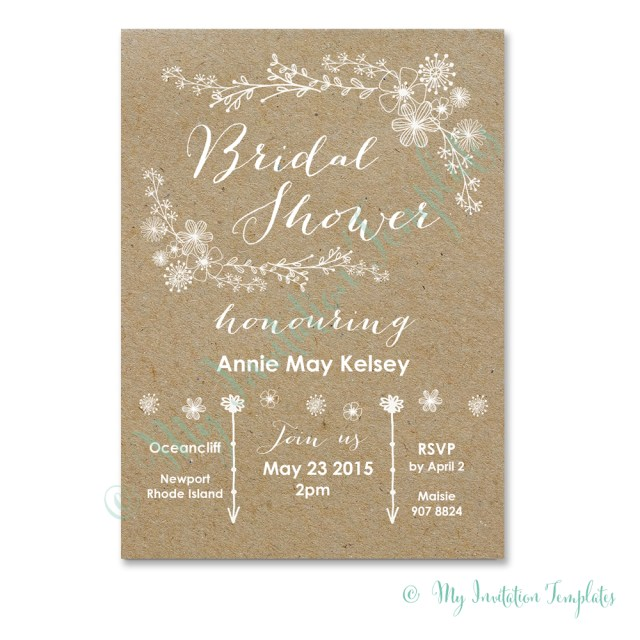 Free Wedding Shower Invitation Templates Whimsical Rustic Bridal Shower Invitation Template Future Shower
