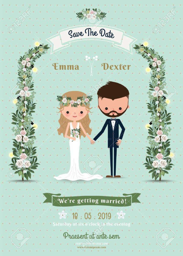 Hipster Wedding Invitations Hipster Wedding Invitation Card Bride Groom Cartoon Beach Theme