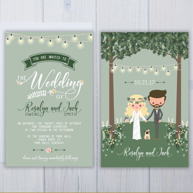 Hipster Wedding Invitations Pug Dog Wedding Invitation Set Wedding Cards Pinterest Wedding