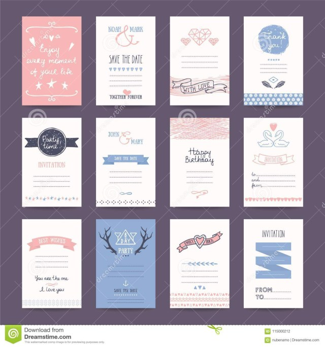 Hipster Wedding Invitations Wedding Invitation Birthday Party Card Tempates Stock Vector