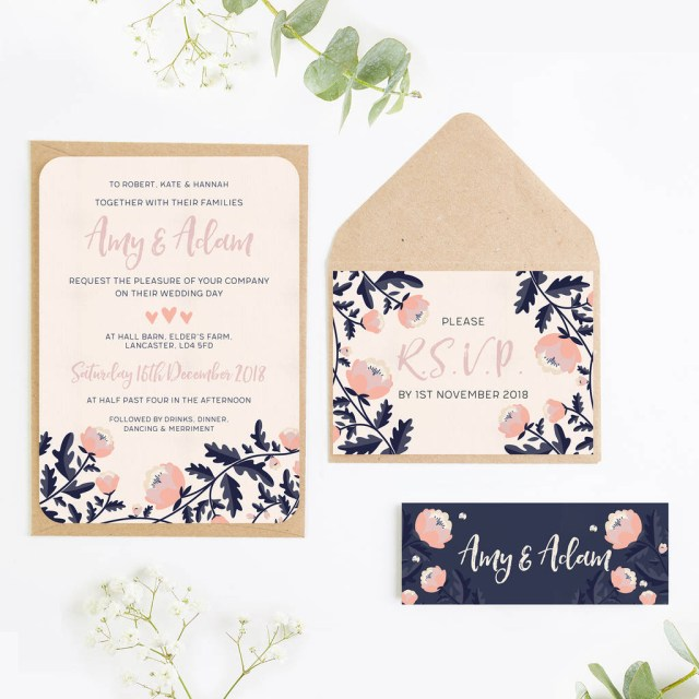His And Hers Wedding Invitations Wedding Invites Blush And Navy Normadorothy Notonthehighstreet
