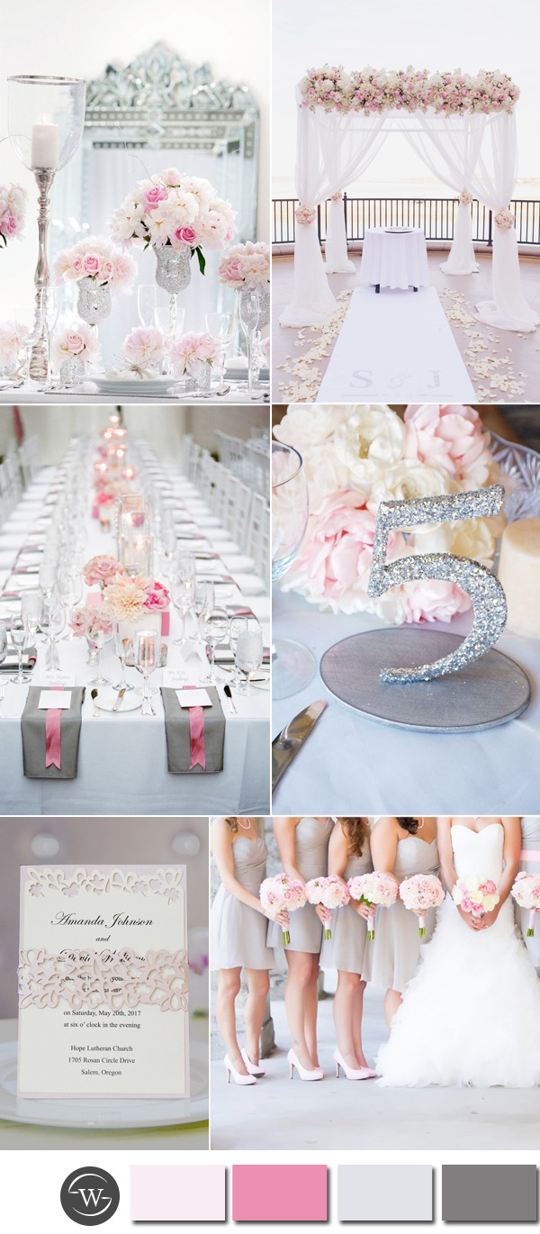 Hot Pink And Silver Wedding Decorations Six Beautiful Pink And Grey Wedding Color Combos With Invitations