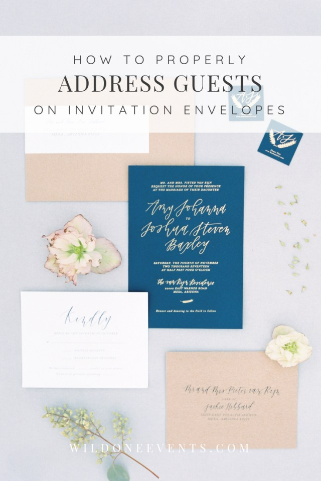 How To Address Wedding Invitations With Guest Phoenix Arizona Wedding Planner Wild One Events Wedding