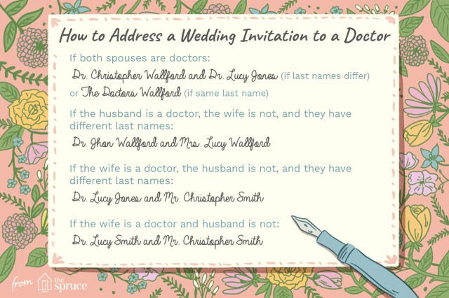 How To Properly Address Wedding Invitations Proper Etiquette For Addressing A Wedding Invitation To A Doctor