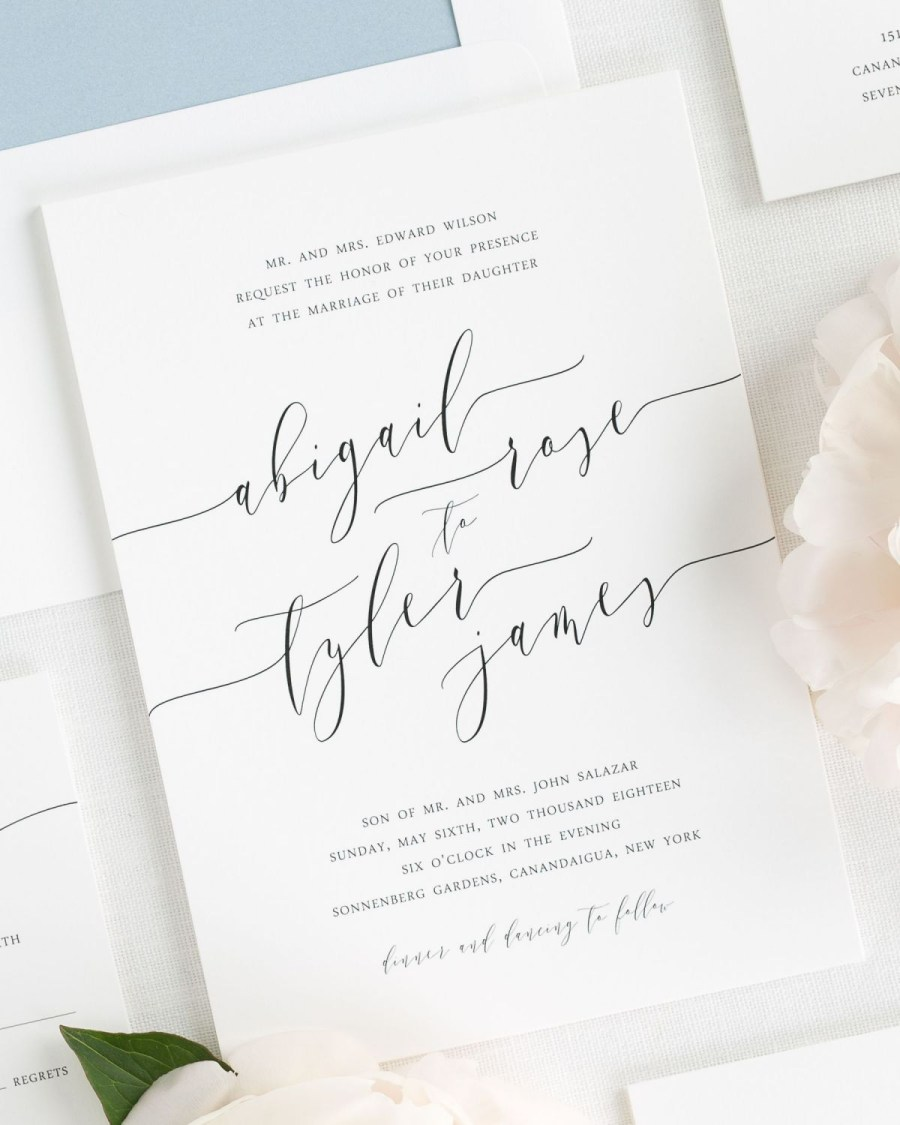 Invitations For Weddings Romantic Calligraphy Wedding Invitations Wedding Invitations Shine