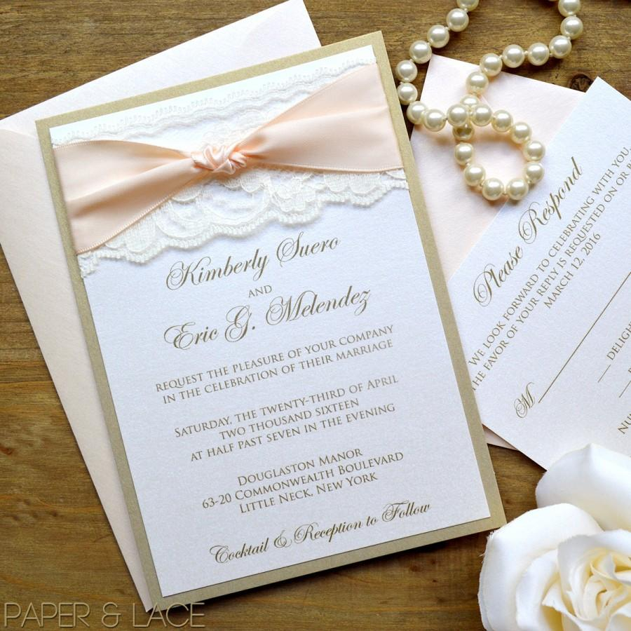 Ivory Wedding Invitations Gold And Ivory Lace Wedding Invitation Classic Lace Wedding