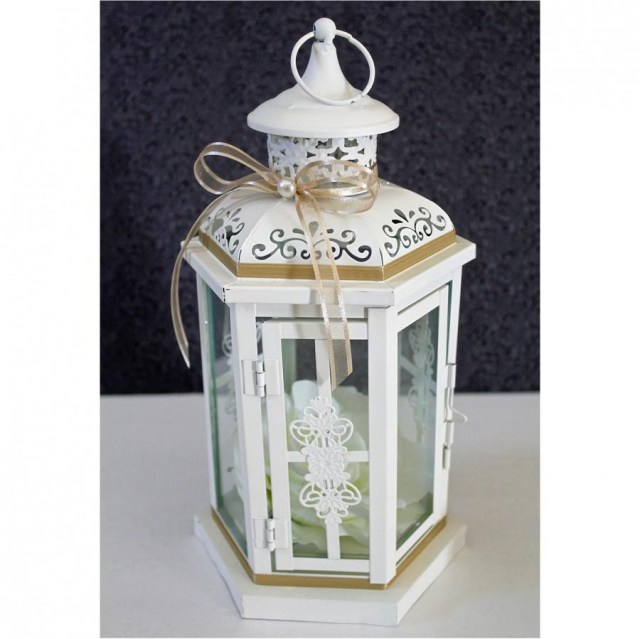 Lantern Decorations For Weddings Wedding Lantern Centerpiece Antique White Ivory Finish With Tan