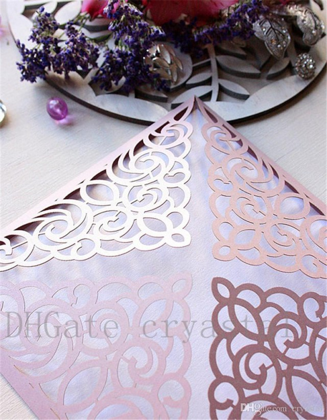 Laser Cut Wedding Invitations Diy Elegant Laser Cut Wedding Invitation Diy Misty Rose Invitations