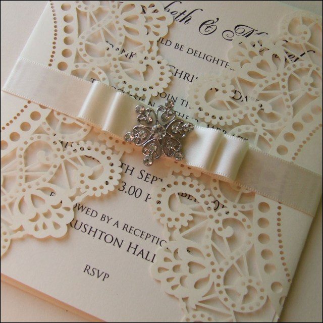 Laser Cut Wedding Invitations Diy Laser Cut Wedding Invitation With Diamante And Ribbon Laser Cut