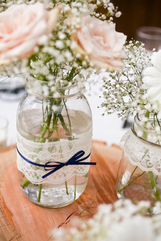 Mason Jar Decorations For A Wedding Decorating Lace Mason Jar Vases Wedding Table 24 Awesome