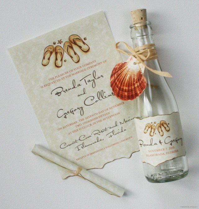 Message In A Bottle Wedding Invitations Beach Wedding Invitations Message In A Bottle Flip Flops In 2018