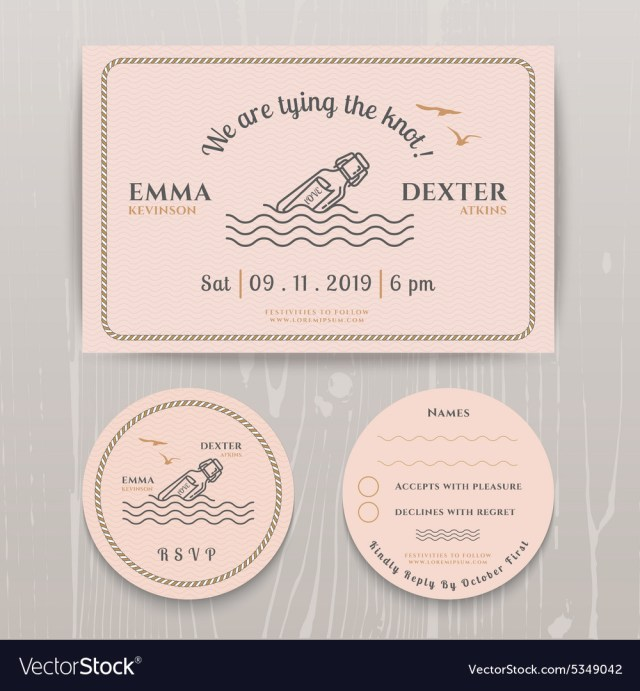 Message In A Bottle Wedding Invitations Nautical Message In The Bottle Wedding Invitation Vector Image