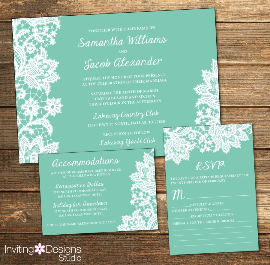 Mint Green Wedding Invitations Lace Wedding Invitation White Lace Mint Mint Green And White Lace