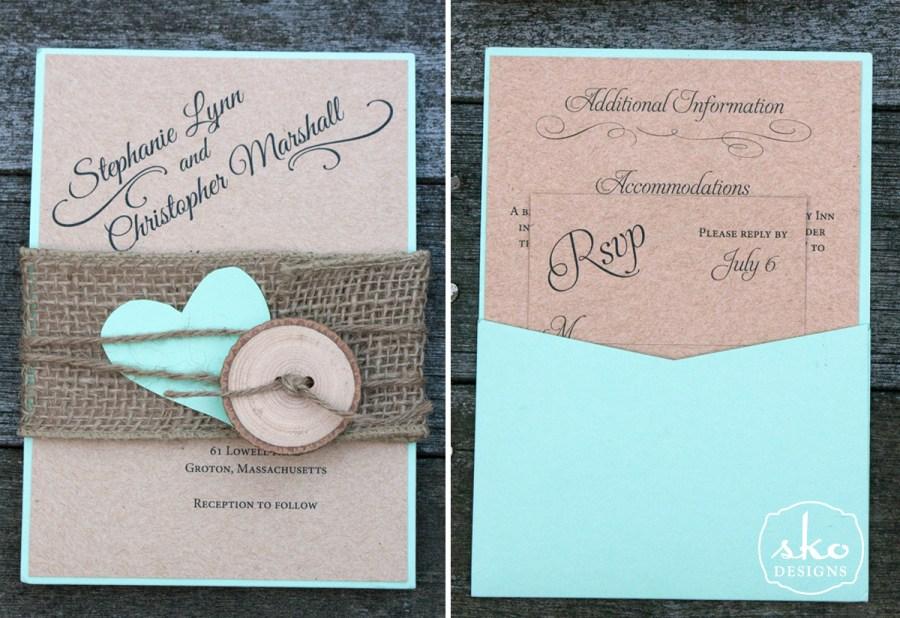 Mint Green Wedding Invitations Mint Green Kraft Rustic Wedding Invitation Sko Designs
