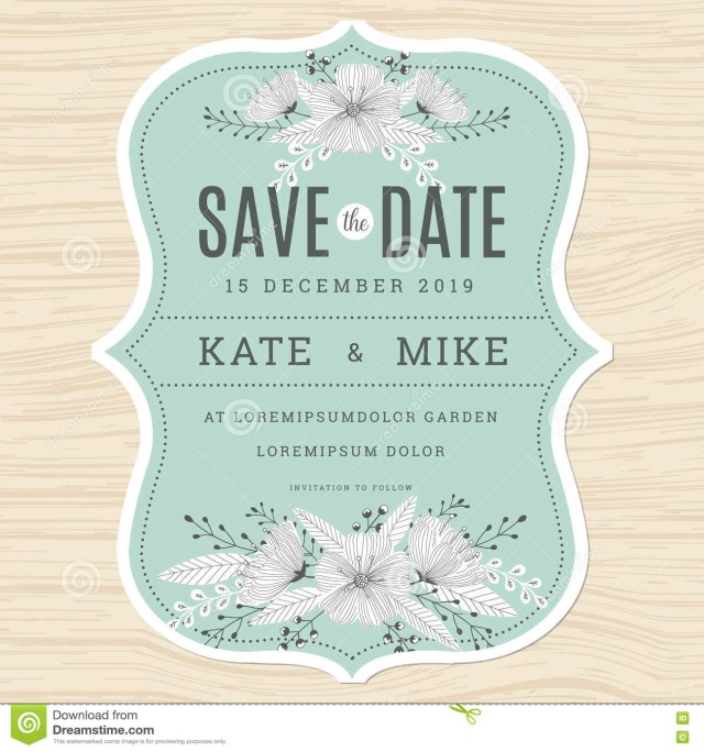 Mint Green Wedding Invitations Save The Date Wedding Invitation Card Template With Hand Drawn