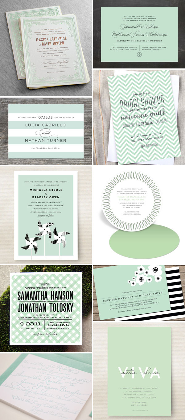 Mint Green Wedding Invitations Wedding Invitation Color Trend Mint Green Invitation Crush