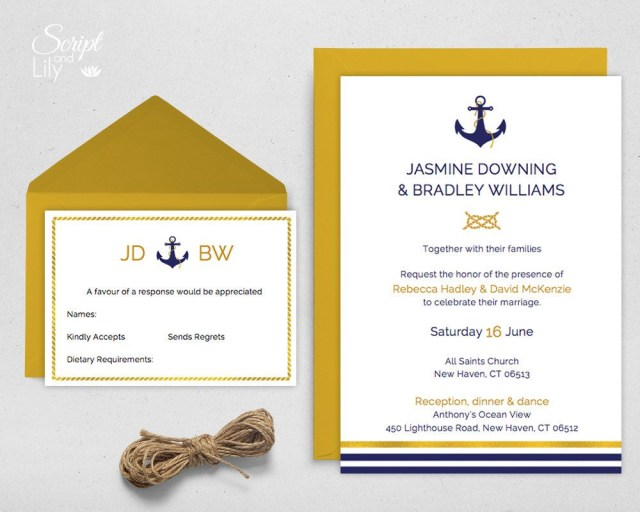 Nautical Wedding Invitation Template Modern Nautical Wedding Invitation Template With Response Card