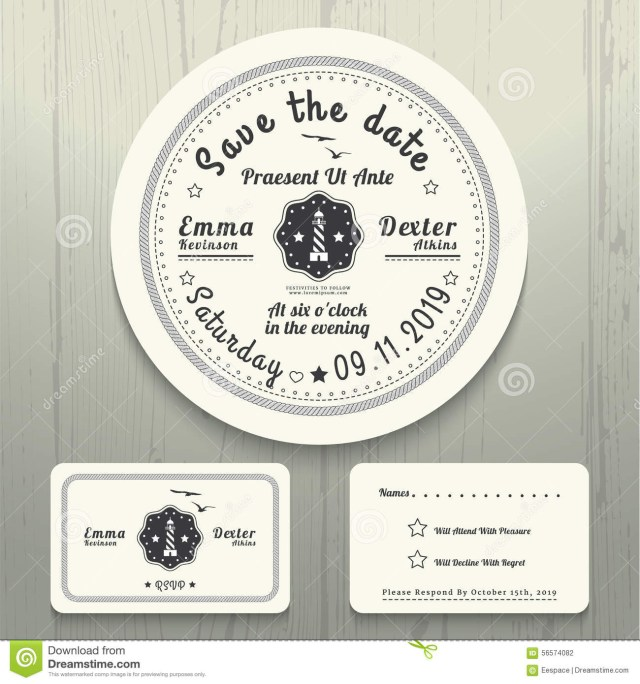 Nautical Wedding Invitation Template Nautical Wedding Invitation And Rsvp Round Card Template Set Stock