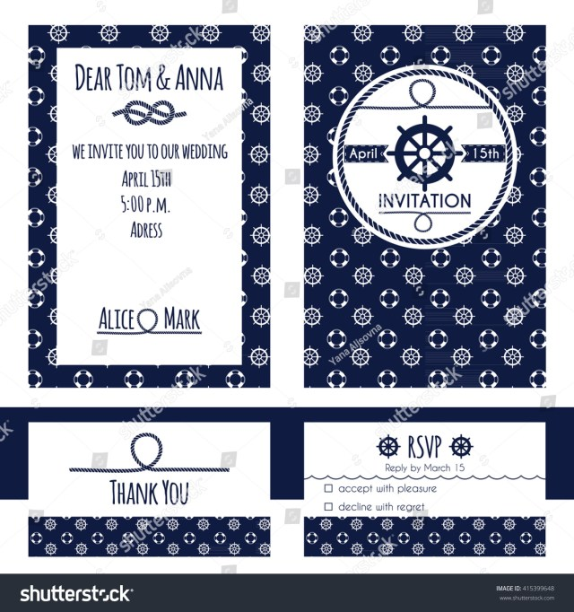 Nautical Wedding Invitation Template Nautical Wedding Invitation Rsvp Card Template Stock Vector Royalty