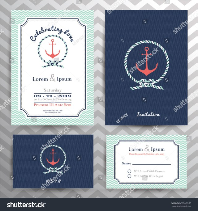Nautical Wedding Invitation Template Nautical Wedding Invitation Rsvp Card Template Stock Vektorgrafik