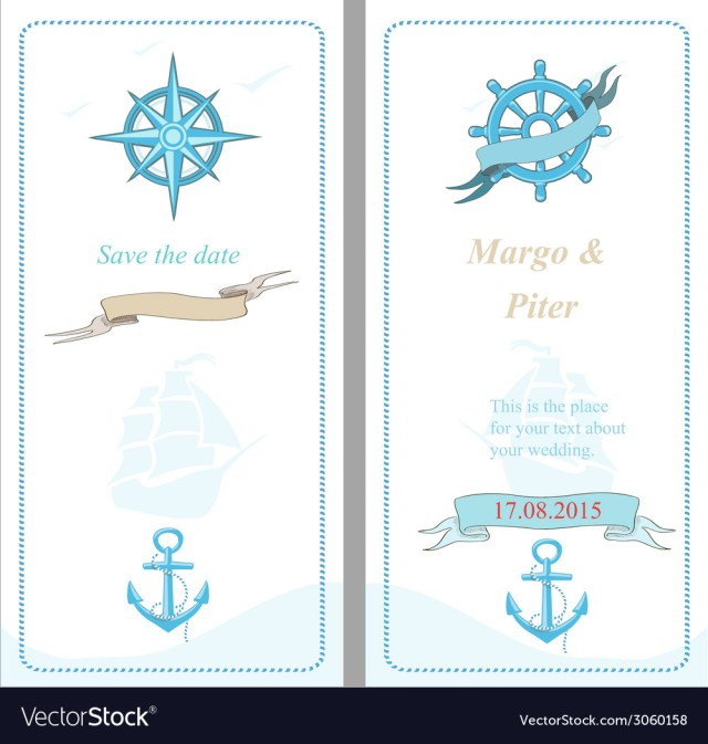 Nautical Wedding Invitation Template Wedding Invitation Template Nautical Style Vector Image