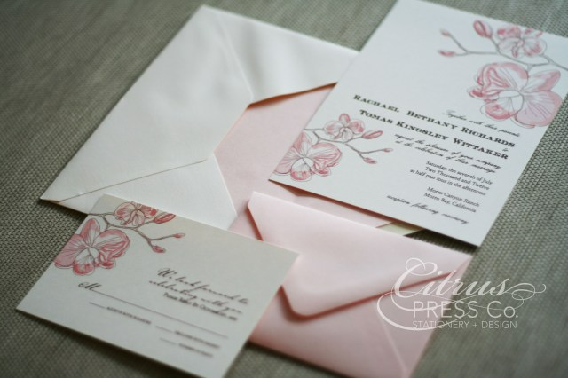 Orchid Wedding Invitations Orchid Wedding Invitation In Rose Color Stationery Wedding