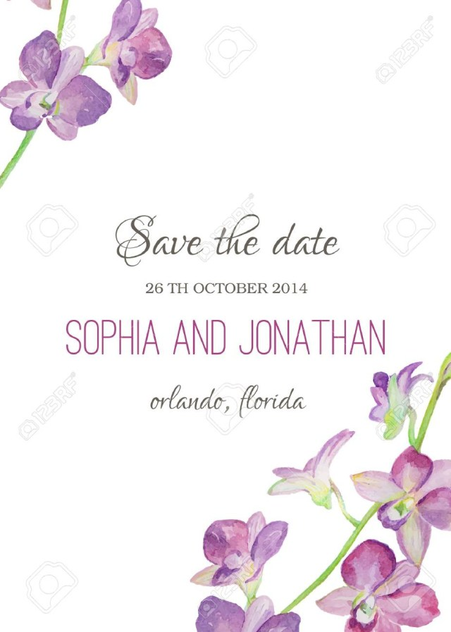 Orchid Wedding Invitations Wedding Invitation Watercolor With Orchid Flowers Illustration