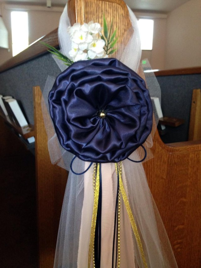 Pew Decorations For Weddings Navy Blue Gold Pew Bows Chair Bows Wedding Bows Pew Church Etsy