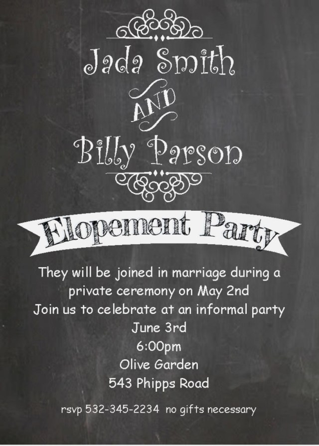 Post Wedding Party Invitations Post Wedding Reception Invitations New Chalkboard Invitations For A