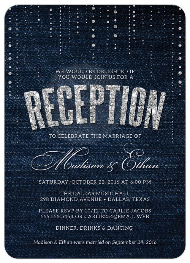 Post Wedding Party Invitations Post Wedding Reception Only Invitations Denim Diamonds Wedding