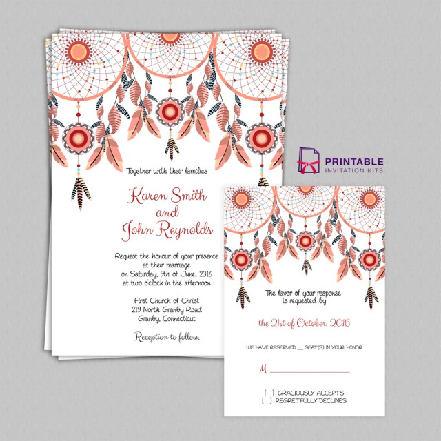 Printable Wedding Invitation Boho Theme Dreamcatchers Wedding Invitation Set Wedding
