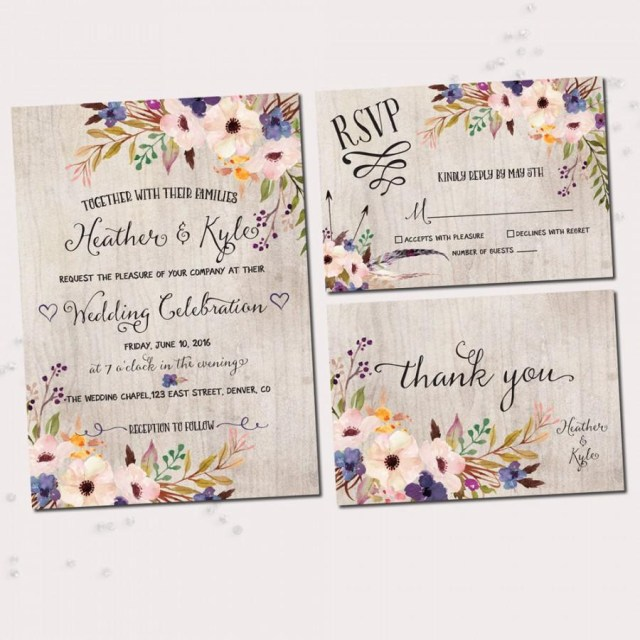 Printable Wedding Invitation Floral Wedding Invitations Watercolor Floral Printable Wedding