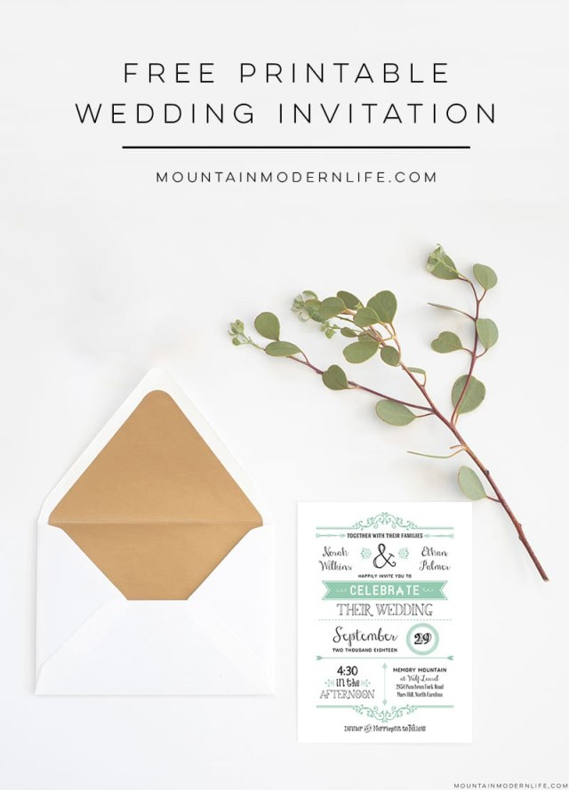Printable Wedding Invitation Free Wedding Invitation Template Mountainmodernlife