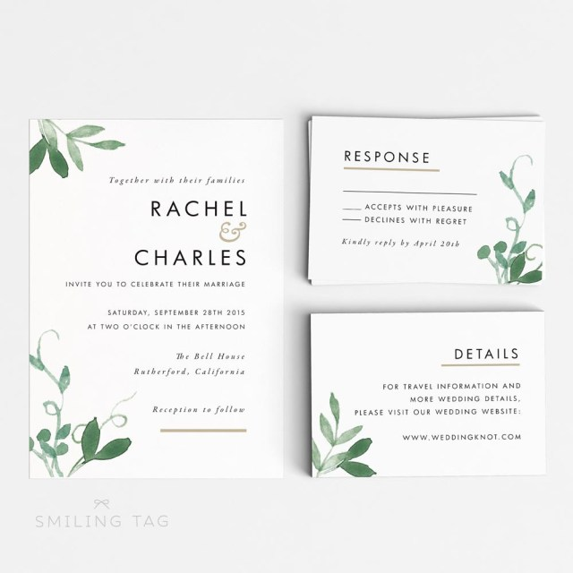 Printable Wedding Invitation Modern Botanical Printable Wedding Invitation Set Item Code P127