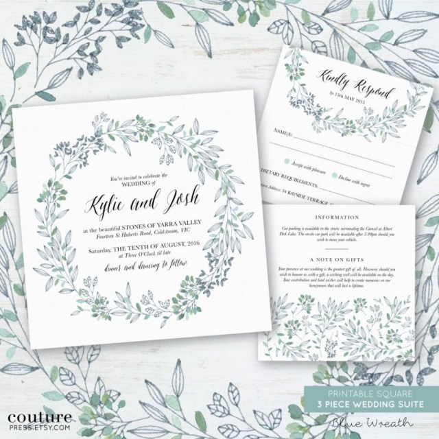 Printable Wedding Invitation Printable Wedding Invitation Set Watercolour Blue Green Wreath