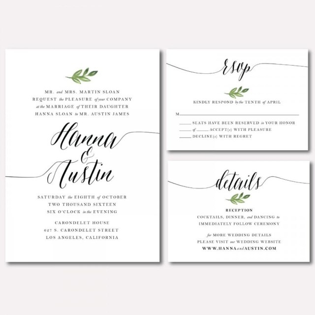 Printable Wedding Invitation Printable Wedding Invitation Suite Botanical Minimalist Leaf