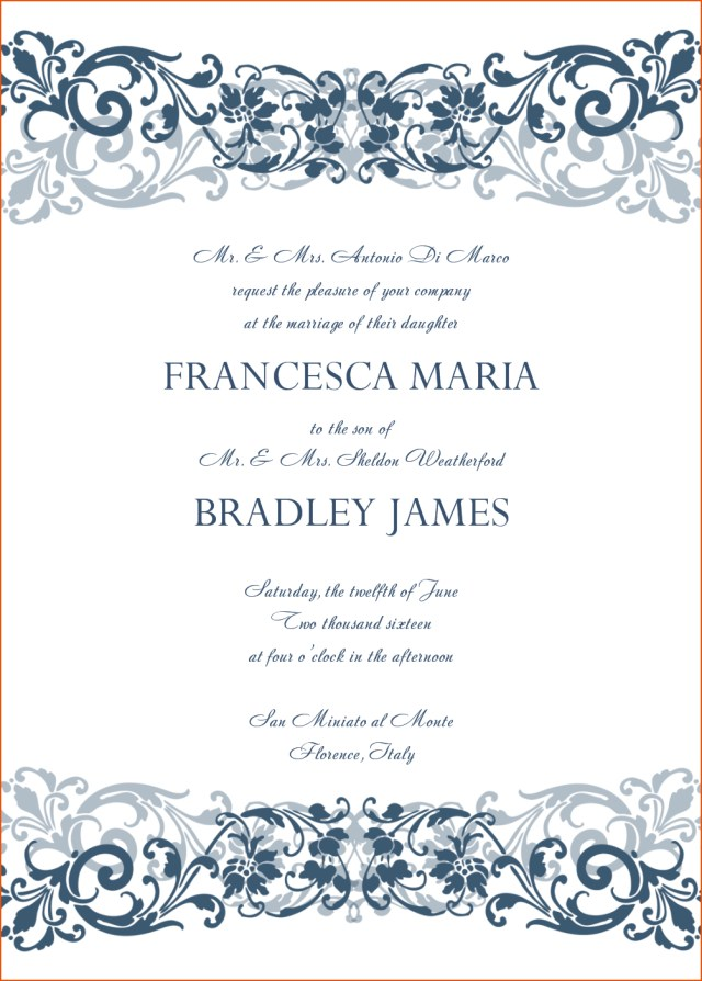 Printable Wedding Invitations Templates Free Printable Wedding Invitation Template Download Min Superb