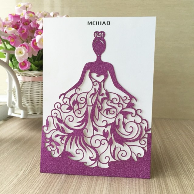 Purple And Gold Wedding Invitations 50pcslot Elegant Silver Purple Gold Invitation Card Laser Cut
