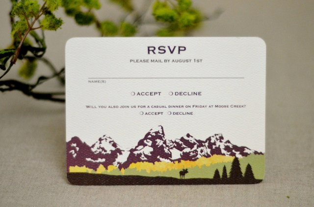 Purple And Gold Wedding Invitations Grand Teton Wedding Invitation With Birch Trees Purple And Gold