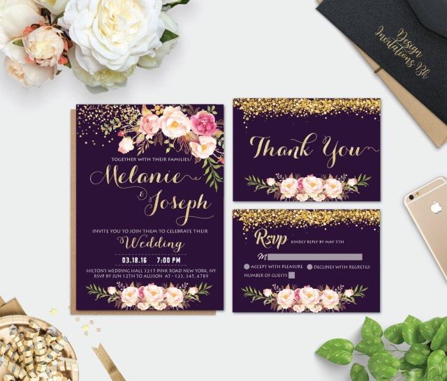 Purple And Gold Wedding Invitations Printable Wedding Invitation Purple Wedding Invitation Gold Etsy