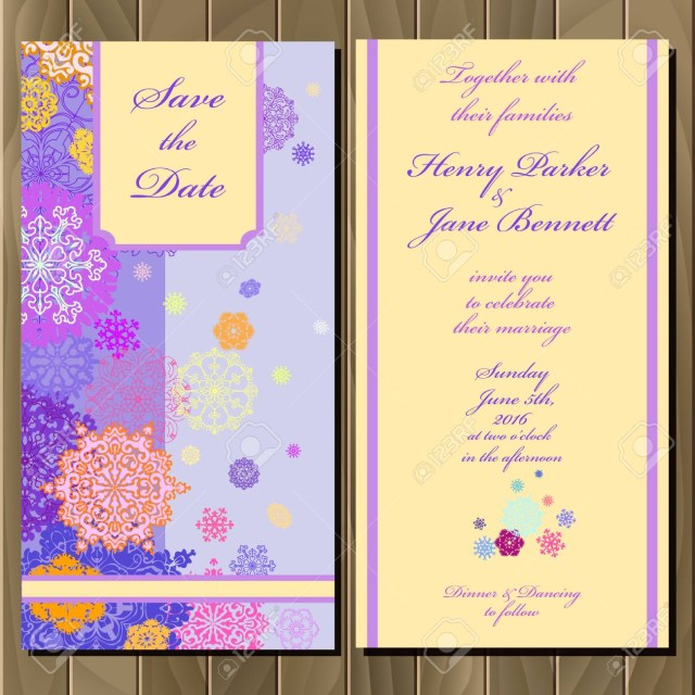 Purple And Gold Wedding Invitations Snowflakes Wedding Invitation Card Violet Pink Gold Blue