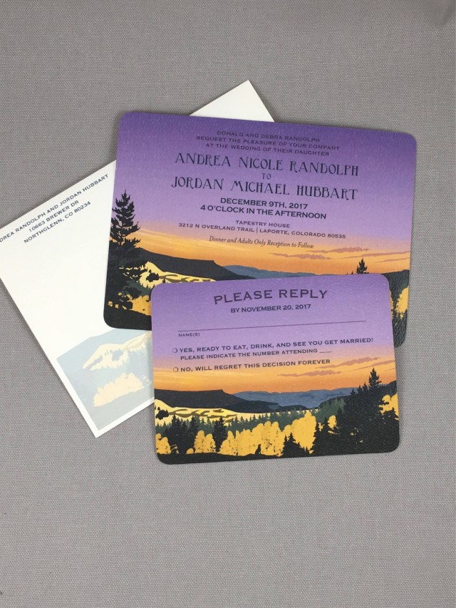 Purple And Gold Wedding Invitations Sunset Purple And Gold Grand Mesa Colorado 57 Wedding Invitation