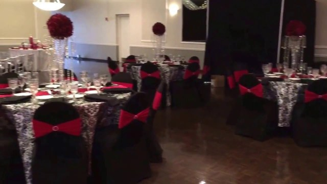 Red And Black Wedding Decorations Wedding Reception At St Demetrios Cathedral Hall Black And White