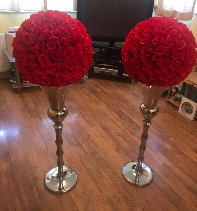 Red And Brown Wedding Decorations Detail Feedback Questions About 18 Pack Of 4 Rose Kissing Ball