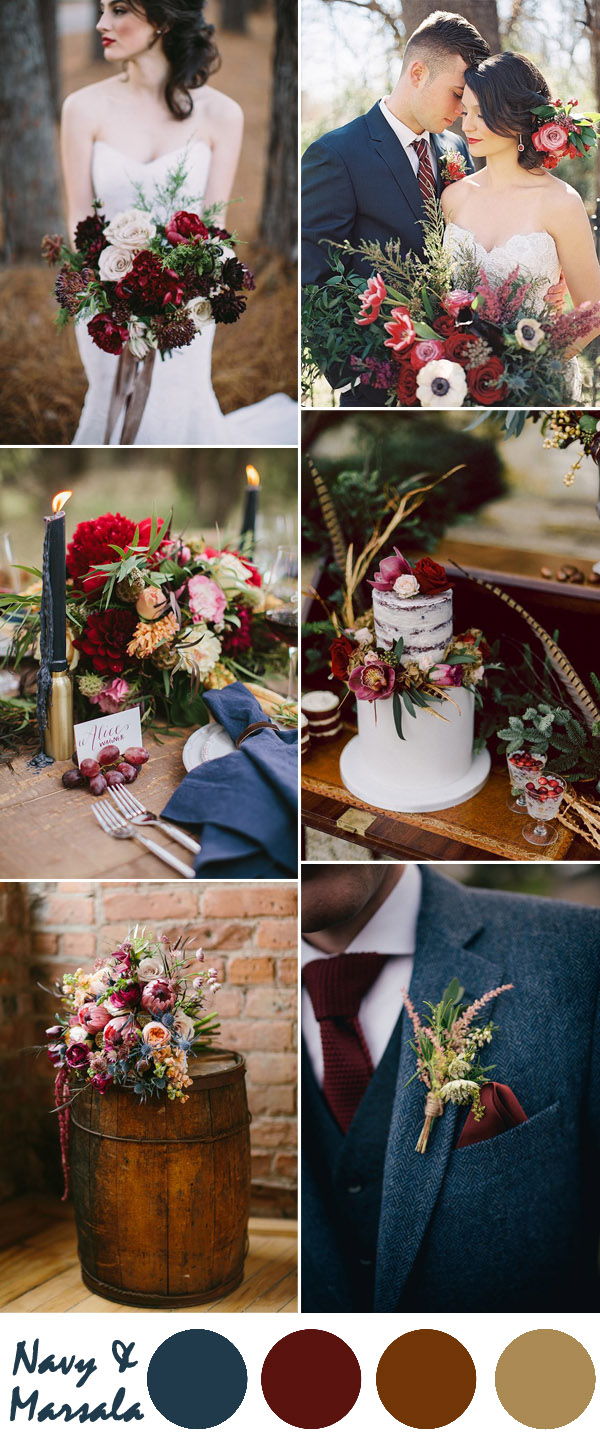 Red And Brown Wedding Decorations Ten Most Gorgeous Navy Blue Wedding Color Palette Ideas For 2016