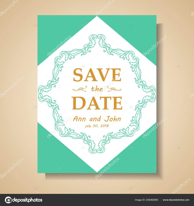 Retro Wedding Invitations Date Retro Wedding Invitation Stockvektor Elentina 205482950
