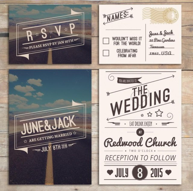 Retro Wedding Invitations Retro Wedding Invitation Set American Design Rockabilly Style In