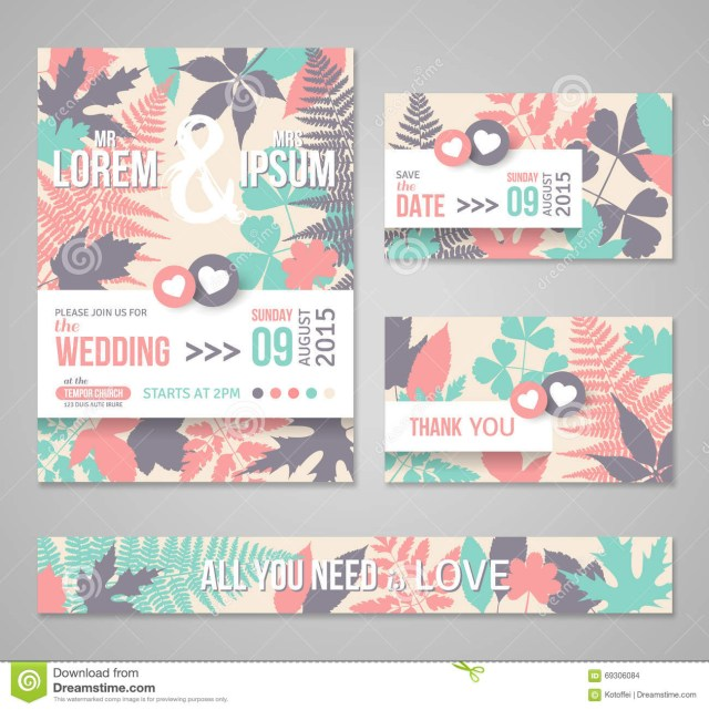 Retro Wedding Invitations Retro Wedding Invitations With Forest Leaves Stock Photo Image Of